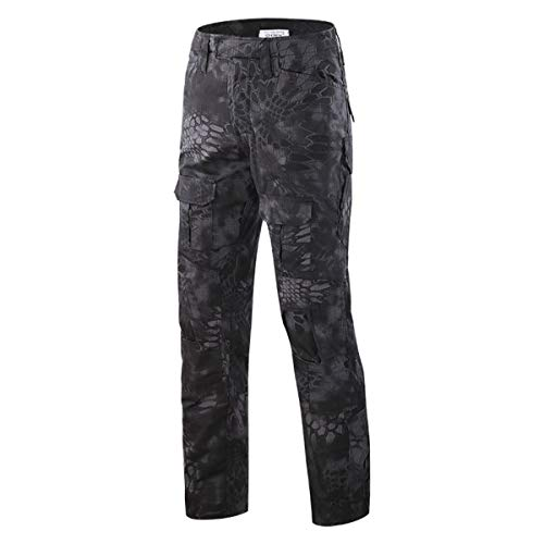 QCHENG Mens Multicam Combat Pants Airsoft Hunting Military Paintball Tactical Army Camo Trousers Uniform Black Python Small