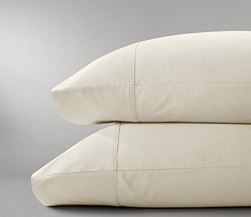 New 1000 Series Thread Count Hotels Premium 2 Pcs Pillow Case 100% Organic Egyptian Cotton 2 Pieces Pillow Pair Standard Queen Ivory Solid