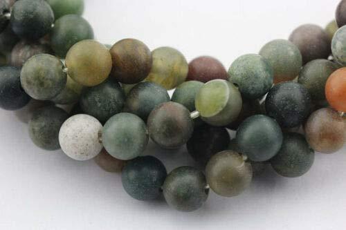 - ShopForAllYou Design Making 2.0mm Large Hole Matte India Agate Round Loose Beads 15.5