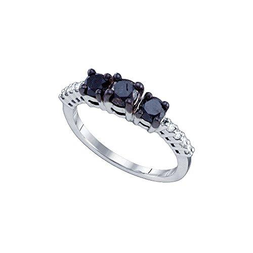 10k White Gold Womens Black 3 stone Colored Diamond Bridal Wedding Engagement Anniversary Ring 1.00 Cttw