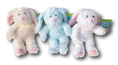 Super Soft Mini Plush Bunny Rabbit Set of 3 - Blue, Tan, White