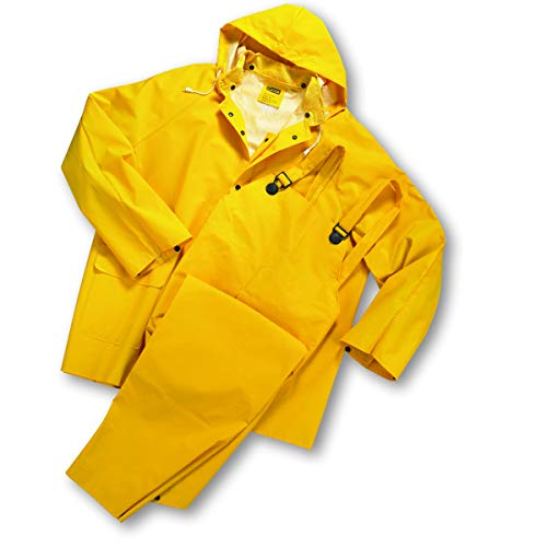 (3-Piece Rainsuits, Jacket/Hood/Overalls, 0.35 mm, PVC/Polyester, Yellow, Large)