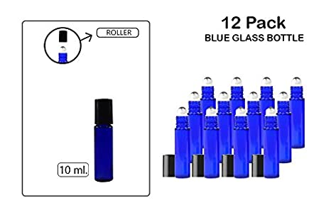 12 Pack- 10 mL Cobalt Blue Glass Bottle With Roll On Ball Applicator For Hydrosol, Cosmetics, Cream, Balms, Lotions,Travel, Oils, Perfume. Etc - Childproof, Anti-Leak, Re-Usable -By Katzco Kayco USA