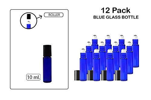 Roll-On / Glass Medicine Bottle, Amber Boston Cobalt Blue Round Bottles 10ML. 12Pack - For Essential Oils, Scents, Travel, Perfume Kitchen, Bath, Cooking, Labs, Laundry, Cosmetic.-Re-Usable -By Katzco