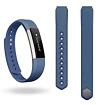 For Fitbit Alta,Haoricu Replacements Genuine Leather Band Strap Bracelet (Blue)