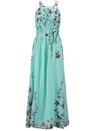 PERSUN Women's Floral Print Halter Neck Chiffon Maxi Dress Green Chiffon Ruched Halter Dress