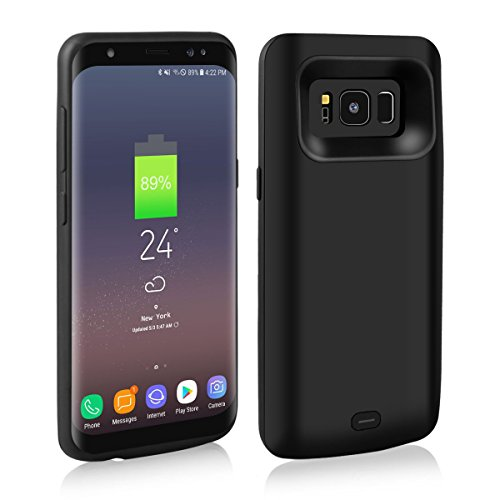 Galaxy S8 Plus Battery Case, Meritcase 5500mAh Protective Rechargeable External Battery Portable Charger Case Juice Pack Power Bank Cover for Samsung Galaxy S8 Plus (6.2 in, Black)