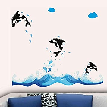 Buy Decals Design 3 Jumping Dolphins Wall Sticker PVC Vinyl 70
