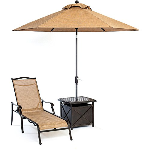 Hanover Monaco Chaise Lounge Chair with 11 Ft. Umbrella and Side Table Aluminum/Tan MONCHS3PC-SU