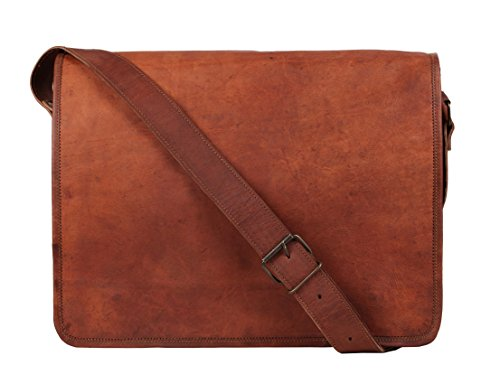 (Rustic Town 13 inch Vintage Crossbody Genuine Leather Laptop Messenger Bag)