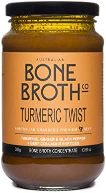 Australian Beef Bone Broth Concentrate -Turmeric Twist flavor - Turmeric, Ginger, Black Pepper Bone Broth Beverage Made in Australia 375 grams