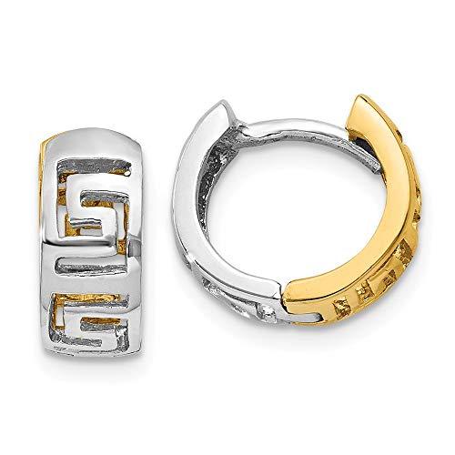- 14K Two-tone Gold Greek Key Hinged Hoop Earrings from Roy Rose Jewelry