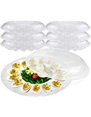 """Deviled Egg Tray with Lid - 12"""" 15 Slot Round Clear Plastic Deviled Egg Carrier with Dome Lid - Durable Polystyrene Disposable Reusable Container for Pickled Stuffed Eggs and Serving Starters"""