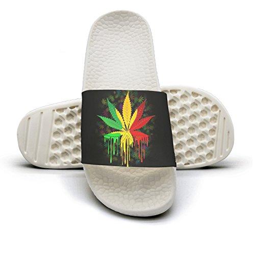 Non Slipper Foams White Leaf Cannabis Slide Home Soft For Slip Sandals Women Marijuana Weed gZtxqR