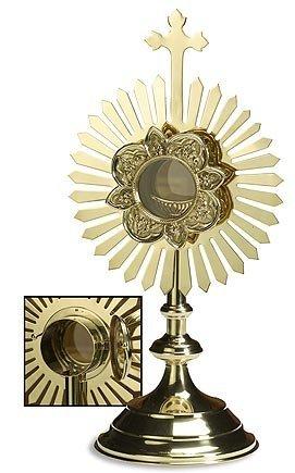 (Stratford Chapel Polished Brass Budded Cross Monstrance with Removable Luna, 18 Inch )