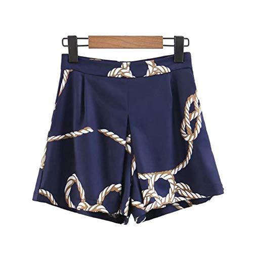 Women Chain Knot Print Elegant Shorts Side