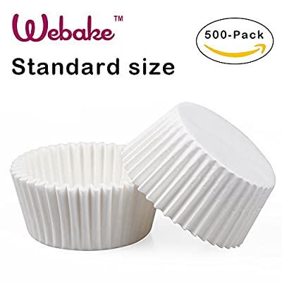 Webake 500 Count Standard Size White Paper Cupcake Liners, Baking Cups, Cupcake Liners Paper, Muffin Cups