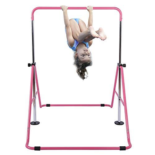 Tepemccu Expandable Gymnastics Bars Adjustable Height Gymnastic Horizontal Bars Junior Training Bar Children Folding Training Monkey Bars