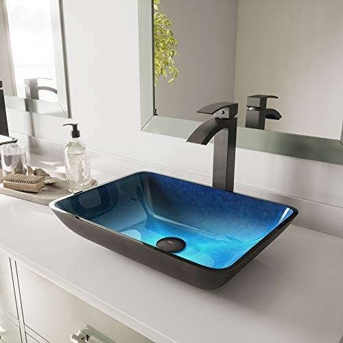 (VIGO Rectangular Turquoise Water Glass Vessel Bathroom Sink)