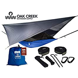 Oak Creek Lost Valley Camping Hammock | Bundle Includes Mosquito Net, Rain Fly, Tree Straps, & Compression Sack | Weighs…