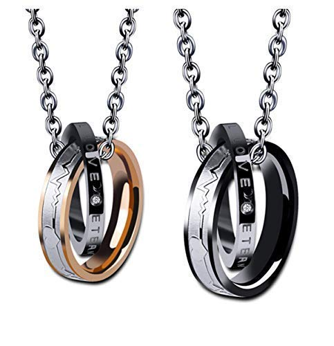 Wedding Anniversary Valentine's Couple Necklace ELELIFE His & Hers Matching Set Titanium Stainless Steel Engraved Love ()