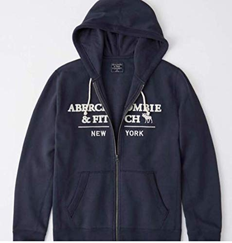 SOLD OUT!! ABERCROMBIE & FITCH HOODIE - size LARGE - NAVY AND CREAM. LOGO HOODIE - NAVY BLUE WITH WHITE LETTERING SOLD OUT - (Abercrombie Fitch Hoodie)