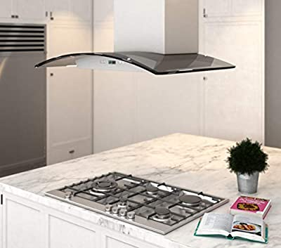 "DKB 30"" Inch Island Range Hood In Brushed Stainless Steel With 600 CFM"