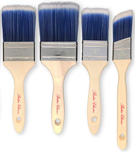 Bates Paint Brushes - 4 Pieces (3, 2.5, 2, and 1.5 Angled), Treated Wood Handle, Paint Brushes for Walls, Professional Wall Brush Set, House Paint Brush, Trim Paint Brush, Sash Paint Brush