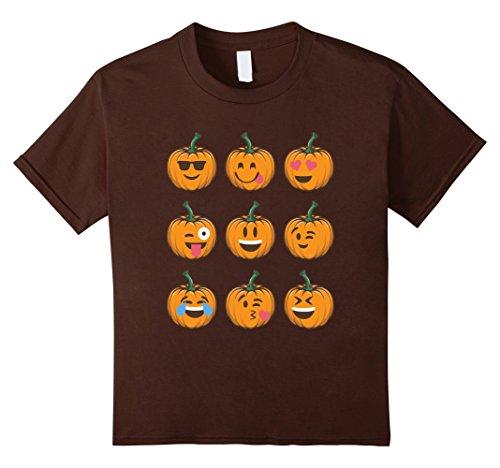 [Kids FUNNY PUMPKIN EMOJI T-SHIRT Halloween Costume 8 Brown] (Father Daughter Halloween Costumes)