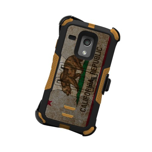 Beyond Cell High Impact Rugged Tri Shield® Kombo Case & Holster Built Clip with Clear Screen Protector film for Motorola G XT1032 Flag Series- California Flag - Black/Brown- Retail Packaging