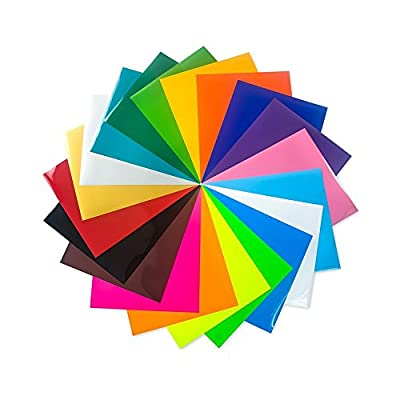 "IZERUO EasyWeed Heat Transfer Vinyl PU?HTV?Iron-On Vinyl Bundle 12""x10""- 20 Pack of Assorted Color DIY T-Shirt HTV Starter Kit for Silhouette Cameo and Cricut"