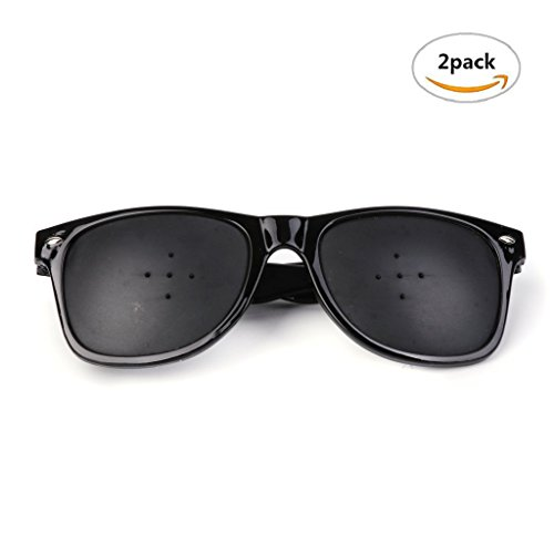 Vision Correction And Improvement Glasses, 2 Pcs Resin Oval Glasses With 5 Small Holes, Black Eyesight Protection Sunglasses, Eyewear Prevention Of Near Eyesight Astigmatism - Holes Sunglasses