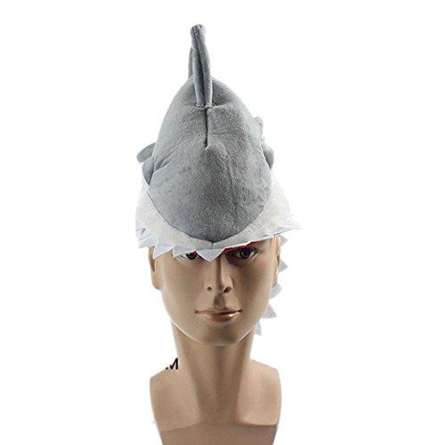 Halloween Party Hat Shark Hat Piranha Cap Deluxe Plush Stuffed Hat Gray ()