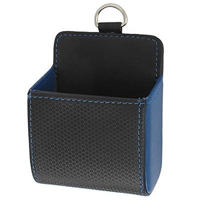 eDealMax Negro Azul de imitación de Cuero auto soporte Para teléfono Bolsa de almacenamiento de bolsillo