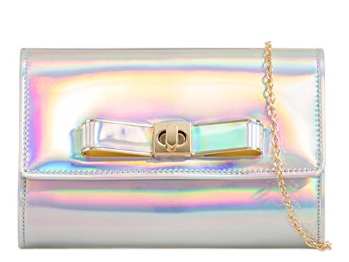 963 Bags Clutch Prom Bags LeahWard Bow Handbag Patent Hologram Women's Evening Wedding 7wOvqSf
