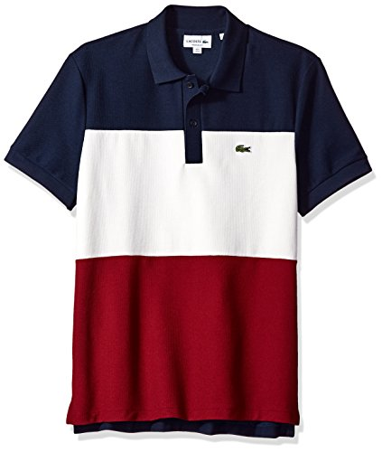 Lacoste Men's Short Sleeve Noppe Pique Striped Color Block Polo, Navy Blue/Flour/Turkey Red, Large