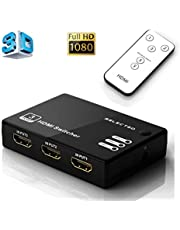 Musou Switcher HDMI, 3D Full HD 1080p Splitter HDMI Switch 3 Enter 1 Exportación Con control remoto amplificador para Blue-ray TV HD-DVD PS3 y Xbox etc.