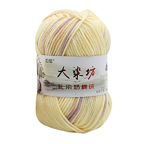 Chunky Colorful Hand Knitting,Sonmer Crochet Milk Soft Baby Cotton Crochet Knitwear Wool Yarn (A2)