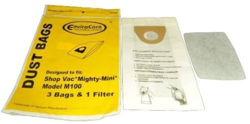 12 Bags + 4 Filters for Shop Vac Mighty Mini M100 Vacuum Cleaner Bag (Shop Vac Mighty Mini)