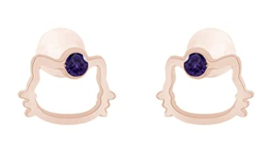 Amazon Com Round Cut Simulated Alexandrite Hello Kitty Stud