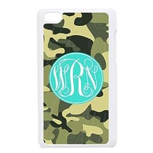@ todo caso especial Verde oscuro el camuflaje diseño azul cian monograma funda de cubierta de plástico personalizado para iPod Touch4, phonecase y polvo enchufe