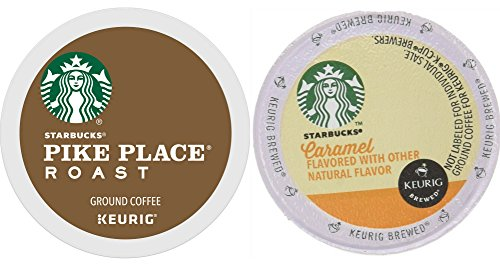 K-Cup Starbucks Variety Pack - Pike Place Medium Roast & Caramel Flavored (4 ct of each) for Keurig Brewers