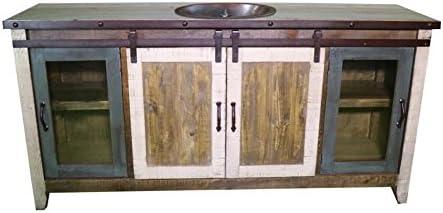Lavabo de 60 pulgadas con puerta corredera de granja blanca desgastada, lavabo de baño totalmente montado con desagüe de cobre instalado en el fregadero: Amazon.es: Bricolaje y herramientas