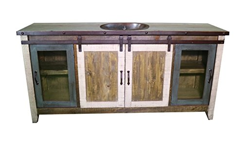 80'' Multicolor Sliding Barn Door Single Sink Bathroom Vanity by Burleson Home Furnishings