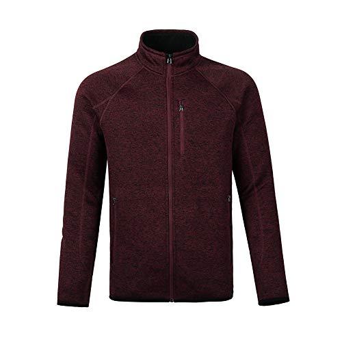 Dolcevida Men's Soft Shell Warm Sweatshirt Full-Zip Midweight Fleece Sweater Knit Jacket (Red, XL)