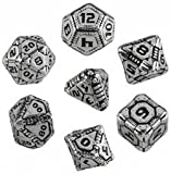 Q Workshop QWOMTE35 Metal Tech Dice RPG Box Board Game (Set of 7)