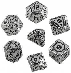 Q Workshop QWOMTE35 Metal Tech Dice RPG Box Board Game (Set of 7) by Q Workshop