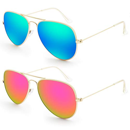 Livhò G 2 Pack of Sunglasses for Men Women Aviator Polarized Metal Mirror UV 400 Lens Protection (Blue Green+Bobbl ()