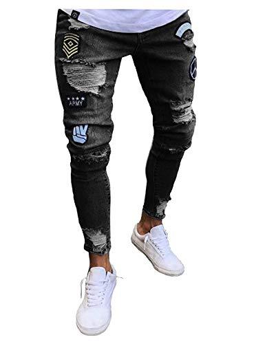 Fit Pantaloni Elasticizzato Jeans In Slim Da Vintage Abbigliamento Nero Uomo Risvolto Denim Con Strappati xFYw6pFrqZ