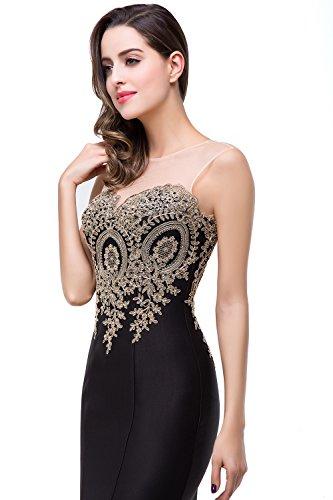 Babyonlinedress Vestido para fiesta de noche y para boda estilo sirena y elegante escote redondo sin mangas espalda semicubierta de cierre con el bordado refinado negro